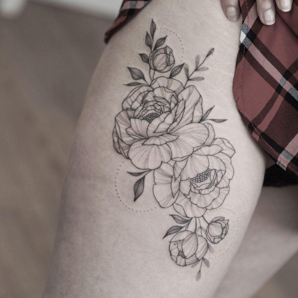 floral peony leg tattoo