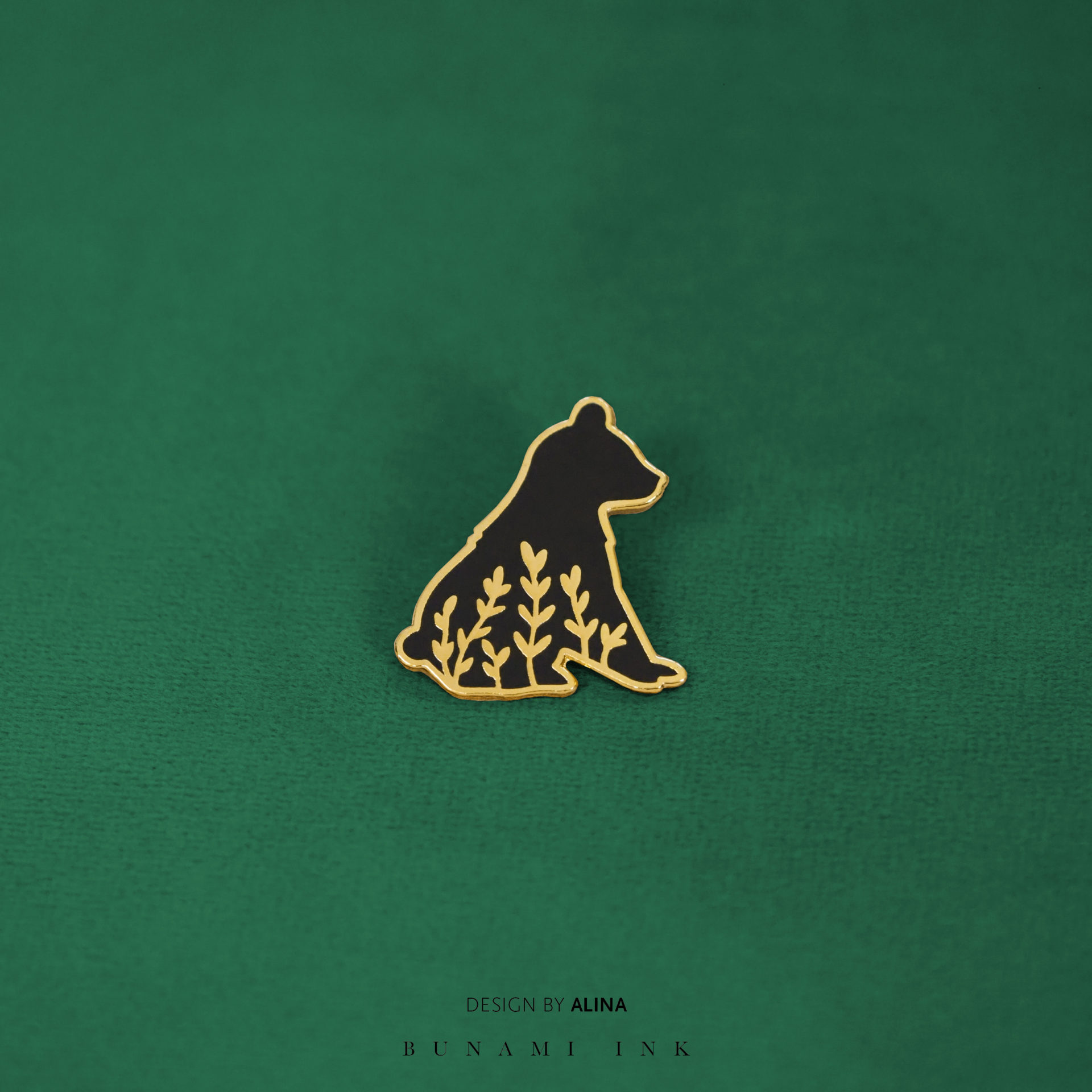 Little bear hard enamel tattoo design pin by Alina – details