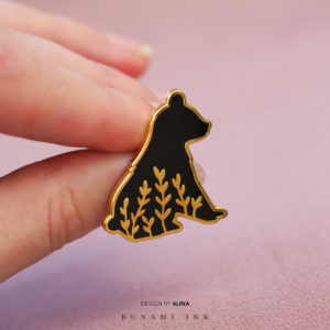 Little bear hard enamel tattoo design pin by Alina