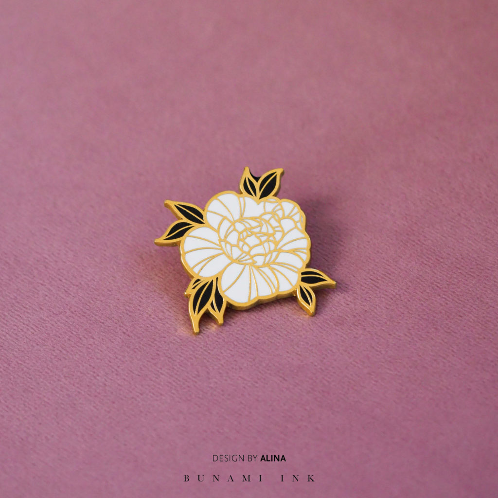 Peony rose hard enamel tattoo design pin by Alina