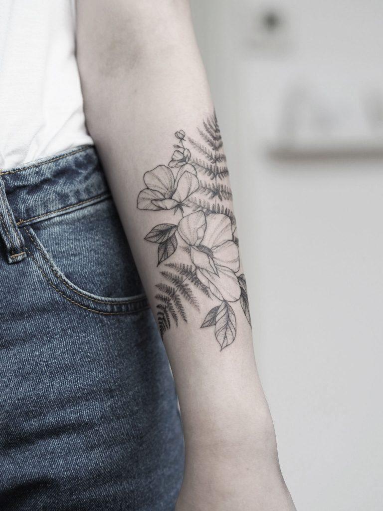 floral fern fineline singleneedle tattoo