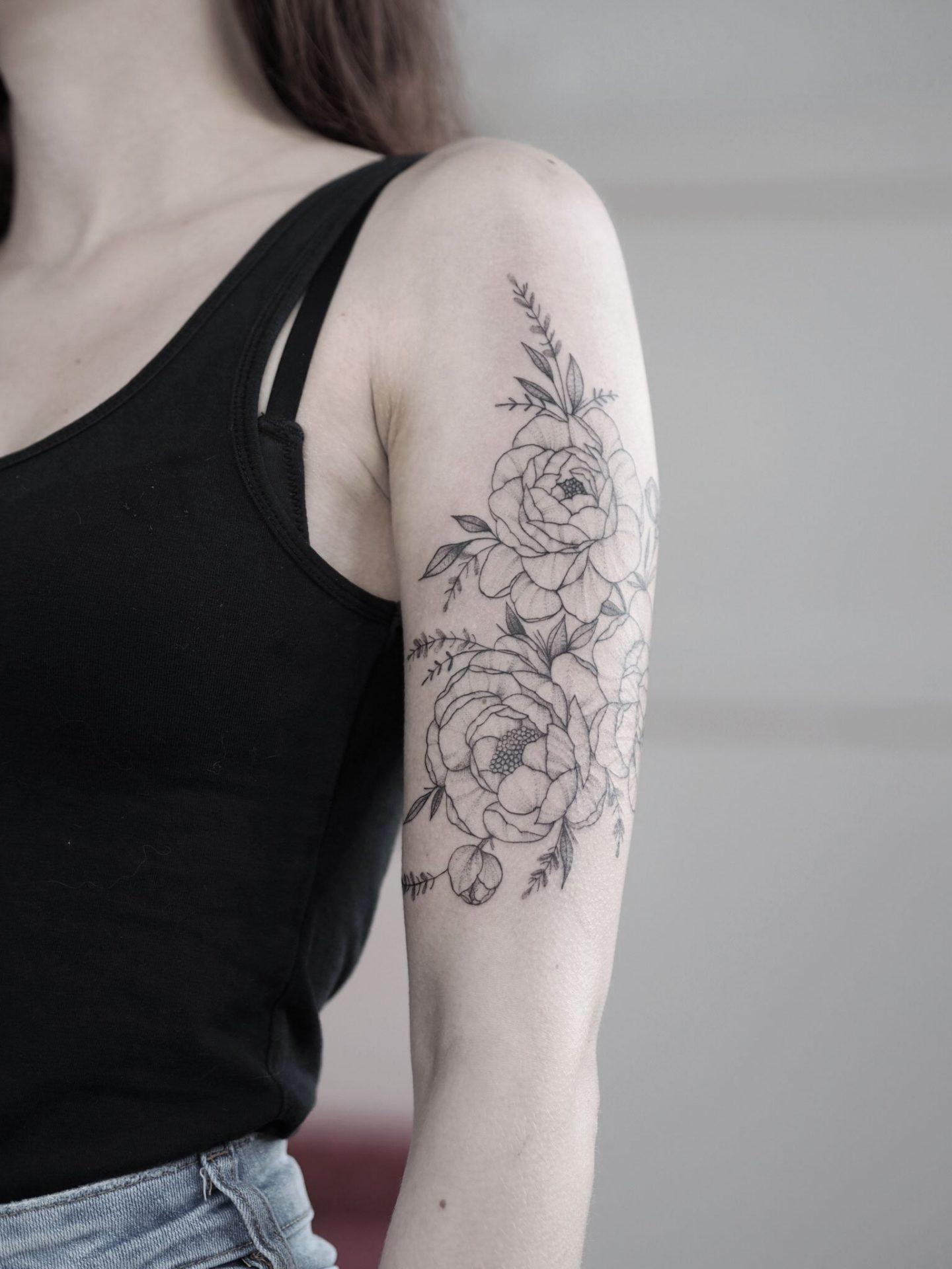 peony sleeve fineline tattoo
