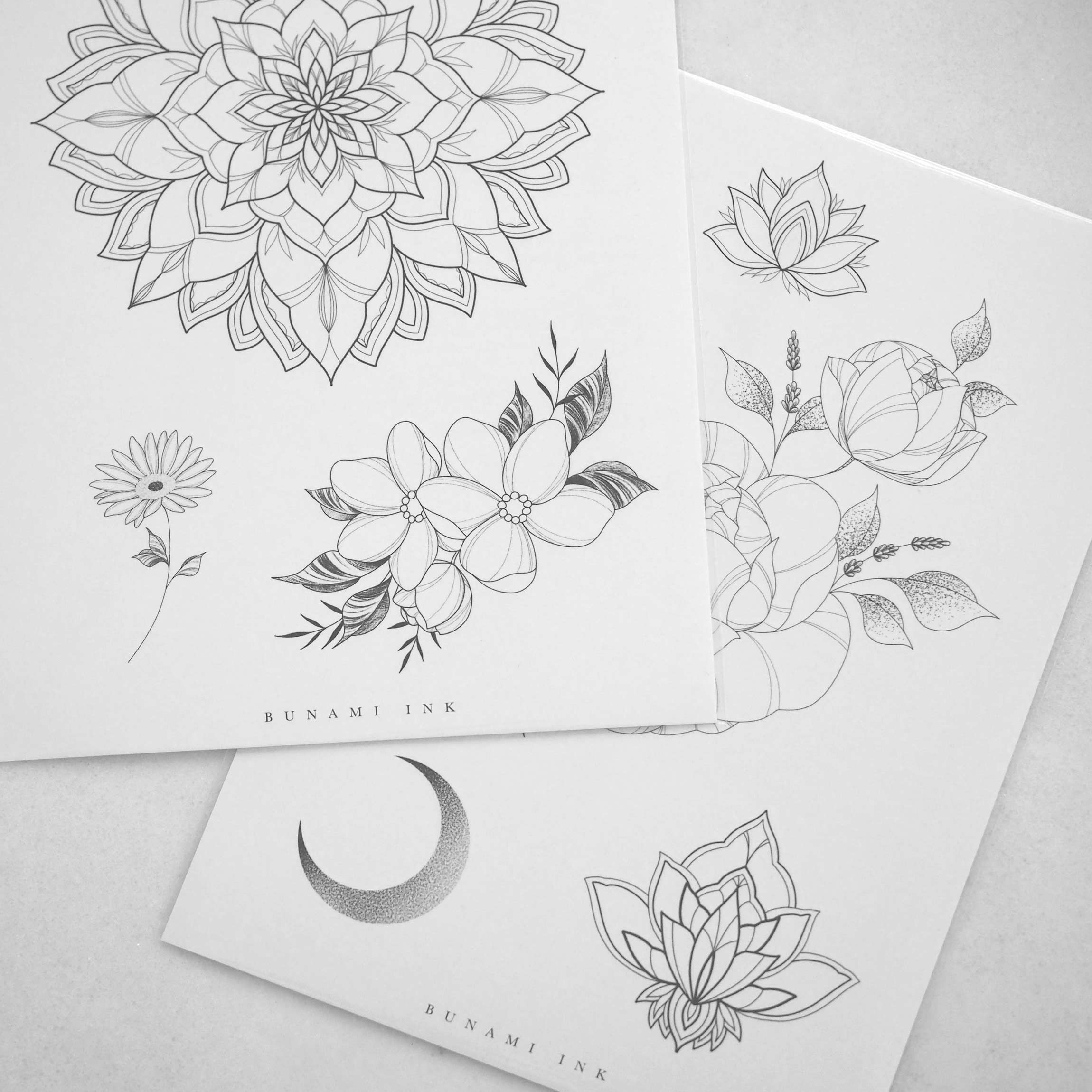 BUNAMI INK temporary tattoos / temporäre Tattoos, flashes A + B