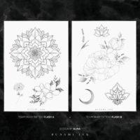 BUNAMI INK temporary tattoos / temporäre Tattoos, flashes A + B