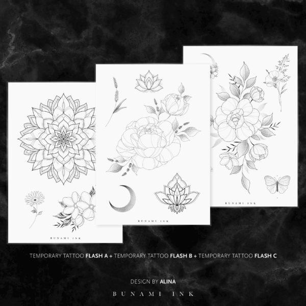 BUNAMI INK temporary Tattoo flashes A, B & C