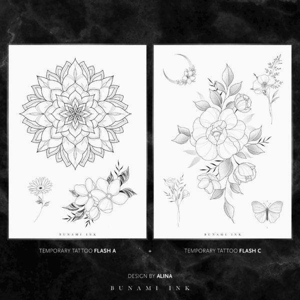 BUNAMI INK temporary Tattoo flashes A & C