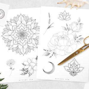 Flash A + B: temporary tattoo by Alina Bunami Ink