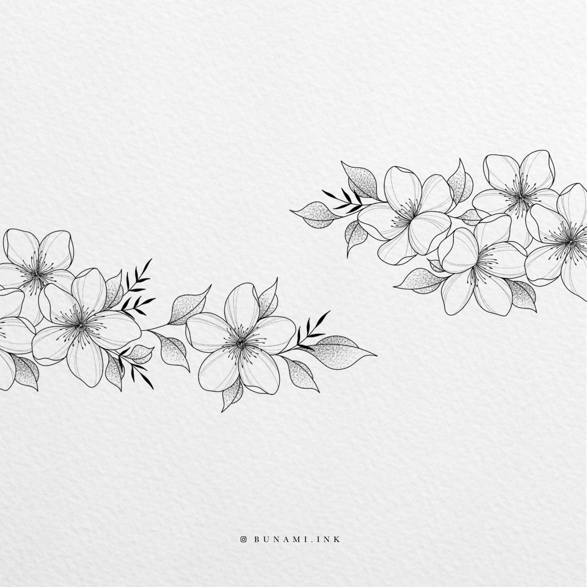 Tiny cherry blossom branch by Alina BUNAMI INK