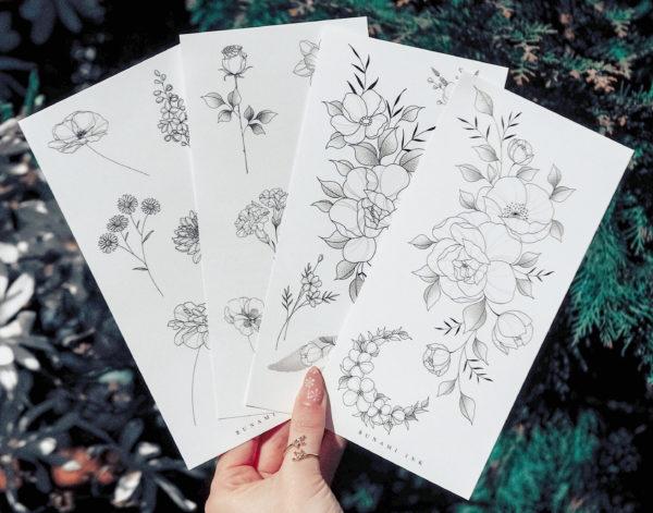 Temporary tattoos Set 11DEFG by Alina BUNAMI INK