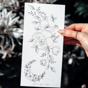 Temporary tattoos, Pfingstrose, Mohnblume, florale Wildblumen & Halbmond by Alina BUNAMI INK