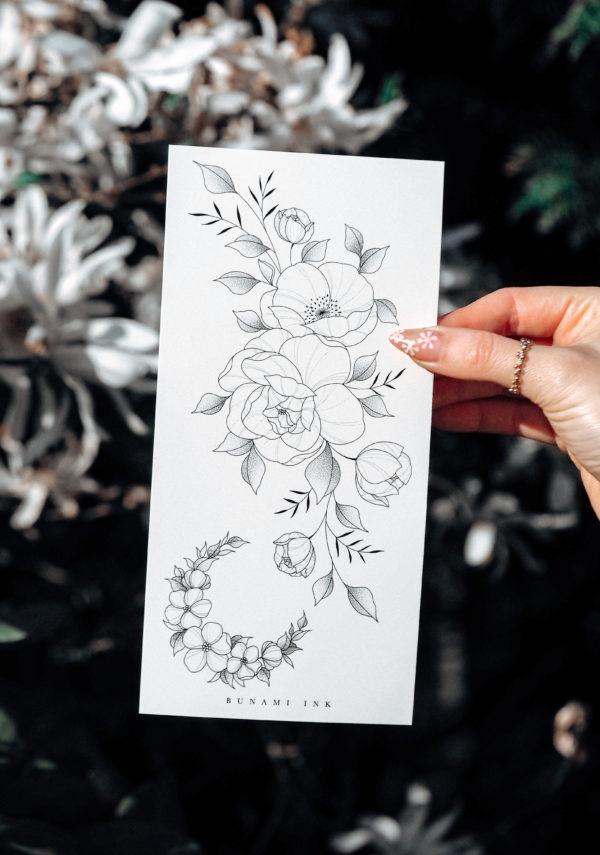 Temporary tattoos, Pfingstrose, Mohnblume, florale Wildblumen & Halbmond by Alina BUNAMI INK
