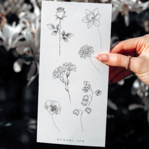 Temporary Tattoo Geburtsblumen 11E Geburtsblumen Januar–Juni: Rose, Narzisse, Gänseblümchen, Nelke, Schneeglöckchen, Veilchen
