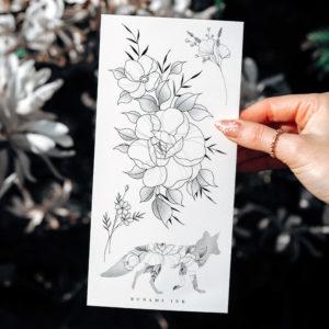 Temporary tattoos Pfingstrosen, Wildblumen, Sträusschen, florale Fuchs-Silhouette by Alina BUNAMI INK