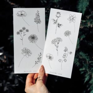 Temporary tattoos Geburtsblumen Set 11DE by Alina BUNAMI INK