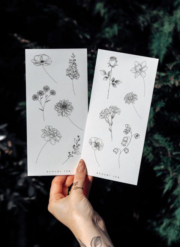 Temporary tattoos Geburtsblumen Set 11DE by Alina BUNAMI INK