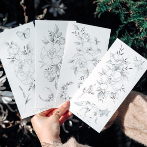 Temporary Tattoo big peony set by Alina BUNAMI INK