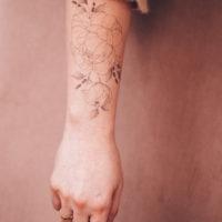 Temporary Tattoo florale Pfingstrose, Lavendel, Mond & Schmetterling by Alina BUNAMI INK