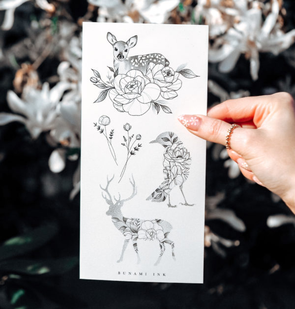 Temporary Tattoo floral deer, Wildflower bouquets, bird animal silhouettes by Alina BUNAMI INK