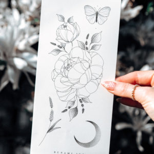 Temporary Tattoo florale Pfingstrose, Lavendel, Mond & Schmetterling by Alina BUNAMI INK